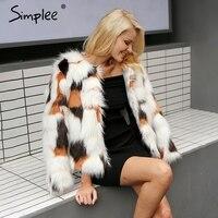 Simplee Elegant Fluffy Faux Fur Coat Women Warm Long Sleeve 2017 Female Outerwear Chic Autumn Winter