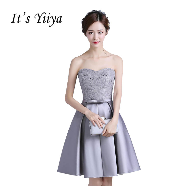 It\'s Yiiya 2017 New Gray Strapless Bow Sex Party Gown Prom Gowns ...