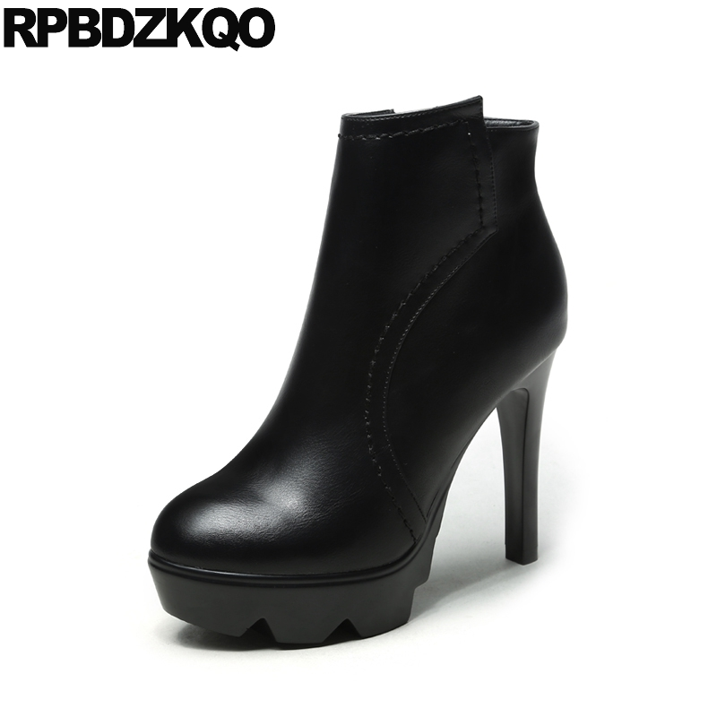 Fetish Size 34 Ladies Winter Round Toe Extreme Side Zip Boots Elegant Fashion Platform Booties Shoes Sexy Black Stiletto Zipper ankle shoes autumn booties 2017 strange front lace up casual boots chunky round toe fetish platform white ladies chinese fashion