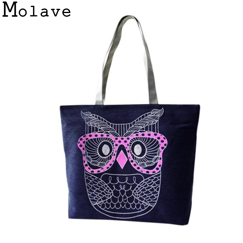 2016 Catoon Owl Shopping Handbag Shoulder Canvas Bag Tote Purse Bag Handbags Protable Simple Handbag Nov20