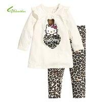 Children Pajamas Cotton Nightwear Leopard Hello Kitty Cartoon Loungewear Kids Girls Homewear Spring Autumn Sleepwear Free