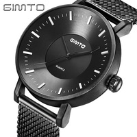 GIMTO 2018 Top Brand Creative Men Watch Black Steel Strap Clock Business Quartz Male Wrist Watches