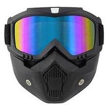 Motorcycle Face Mask Helmet Goggles Ski Bike Motocross Motor Glasses with Detachable Mask Harley Style Motorbike Helmet Lens цена