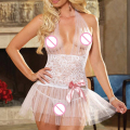 Plus Size Women Sexy Transparent Splicing Bow Strap Dress Lace Lingerie S-2XL
