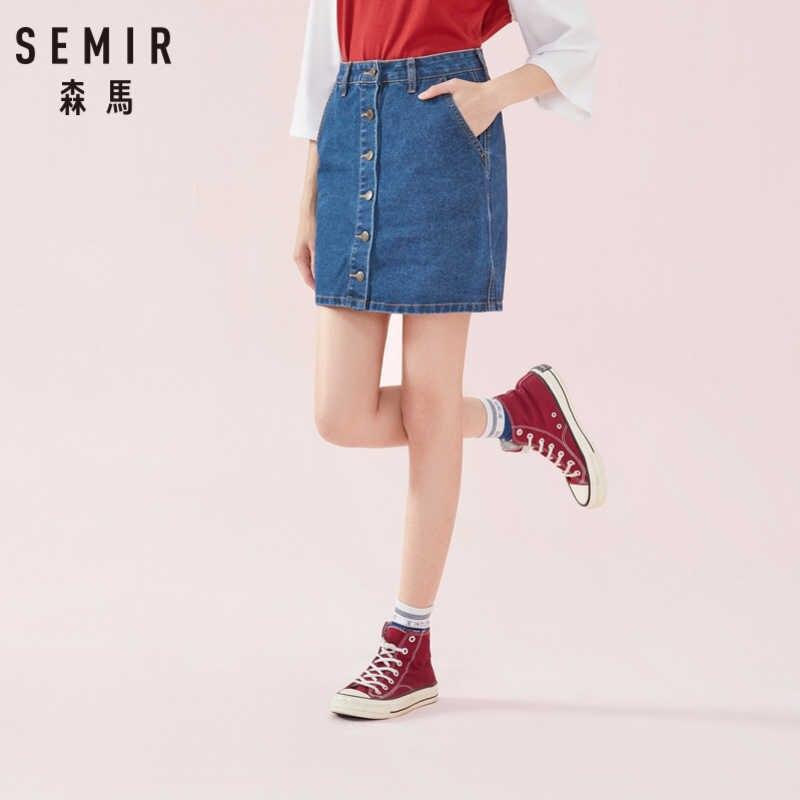 SEMIR femmes jupe en jean en coton doux avec poche latérale fermeture à bouton avant une ligne jupe en jean doublée en Denim lavé Style Chic