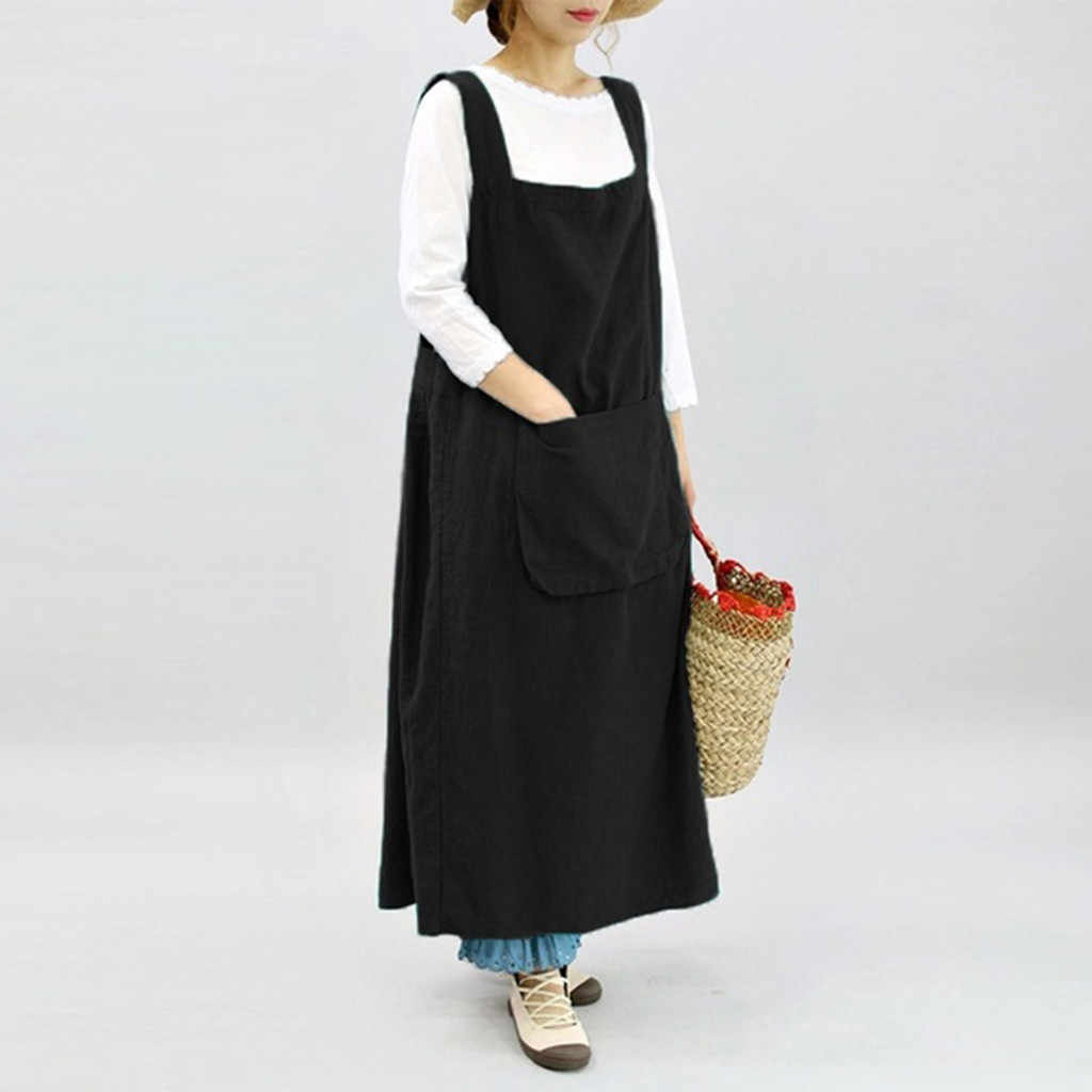 Apron Pure Color Cooking  Sleeveless Kitchen  Aprons For Woman Chef Waiter Cafe Shop Work Pinafore Dress Apron Kitchen 19JUN7