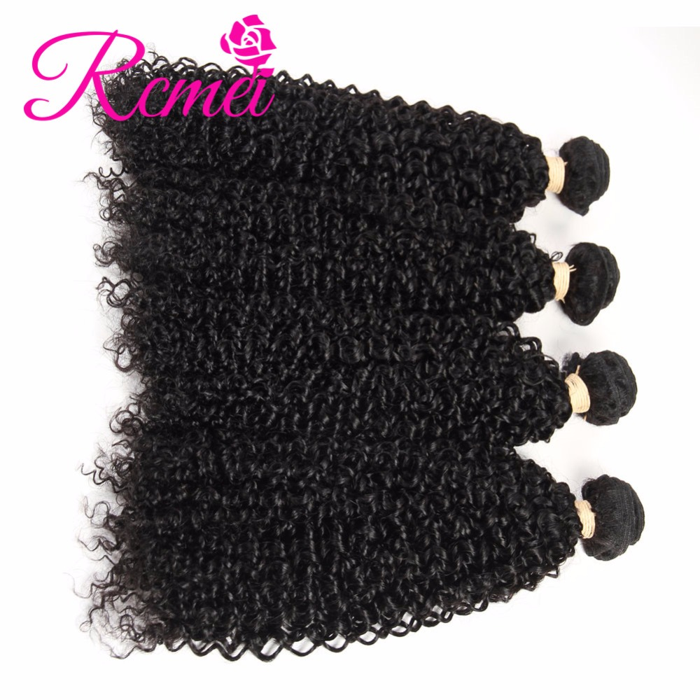 Rcmei Remy Hair Indian 100% Human Hair Extension 4 Bundles Kinky Curly Bundles Indian Hair Weave Bundles Curly Natural Black