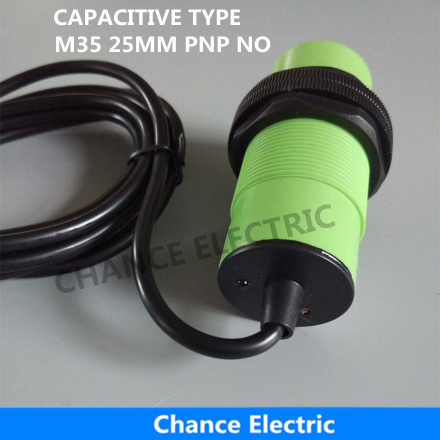 proximity sensor capacitive type pnp M35 cylinder plastic body 25mm  NO distance switch  (CM35-25-DPA) high quality proximity switch igs204 m18 plug in pnp no inductive