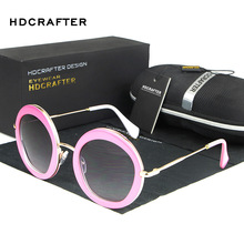 2016 Retro Round Pink Sunglasses Women Vintage Sunglass Fashion Ladies Shade Glasses with Case Oculos Lentes De Sol Mujer 3021