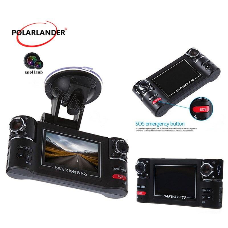 Vision nocturne HD double lentille caméra véhicule automobile 2.7 pouces LCD voiture DVR Cam Dash enregistreur vidéo 8 IR lumières SOS F30