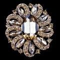 Venda Direta Da fábrica 6 Cores Sortidas das Mulheres Pinos Broche de Flor De Cristal e Acrílico em Banhado A Ouro