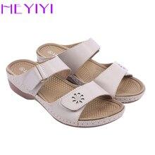 HEYIYI Frauen Schuhe Lässige Rom Hausschuhe Sewing Quadratische Heels Freizeit Sommer Floral Haken & loop PU Lackleder Licht-gewicht Schuhe