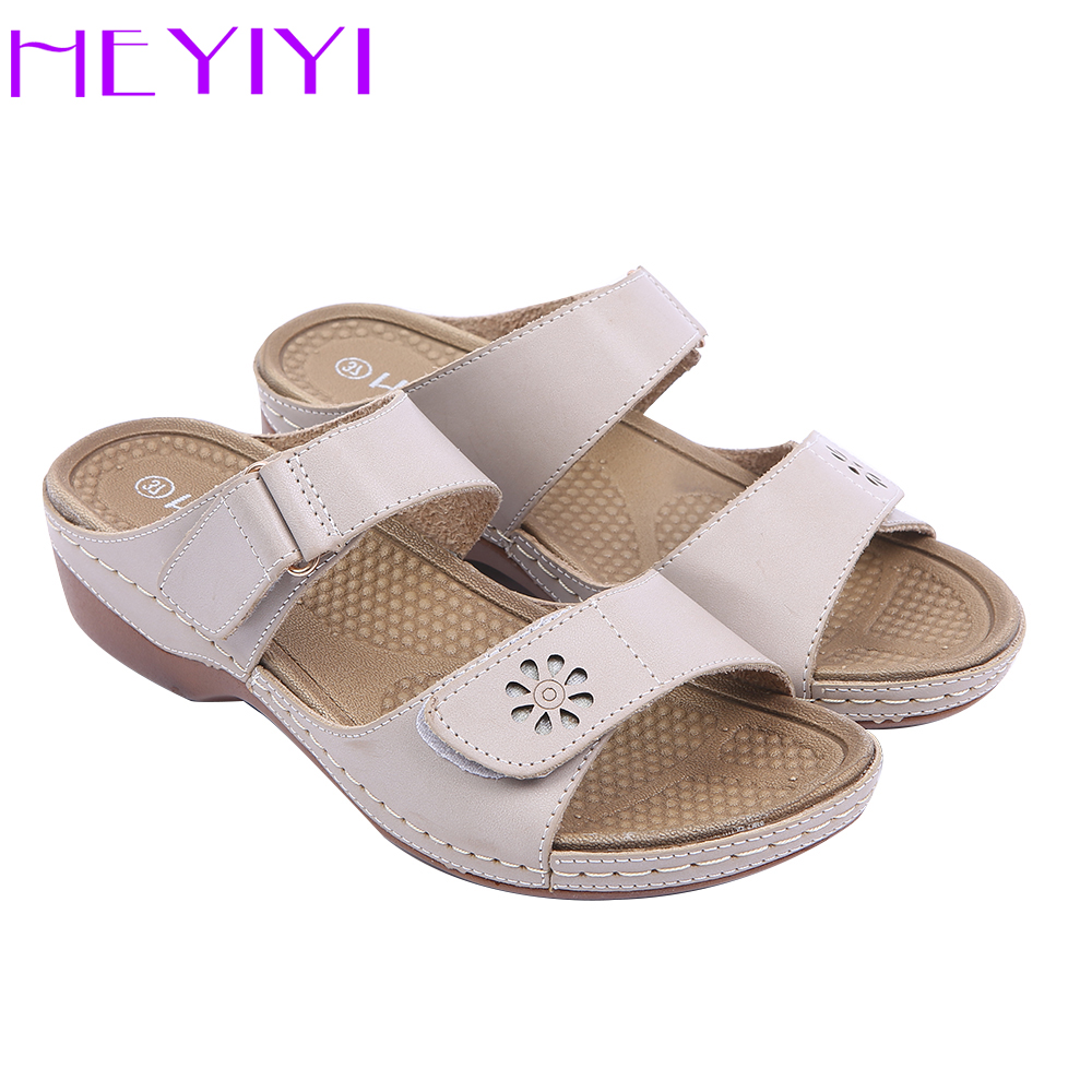 HEYIYI Women Slippers Shoes Casual Rome Square Heel Leisure Summer Hook&loop PU Patent Leather Light weight Clearance Shoes