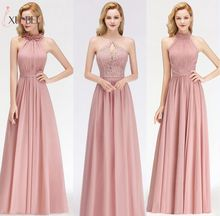 цена на In Stock Halter A Line Dusty Pink Bridemaid Dresses Long 2019 Lace Ruched Chiffon Prom Guest Dress Wedding Party Dresses