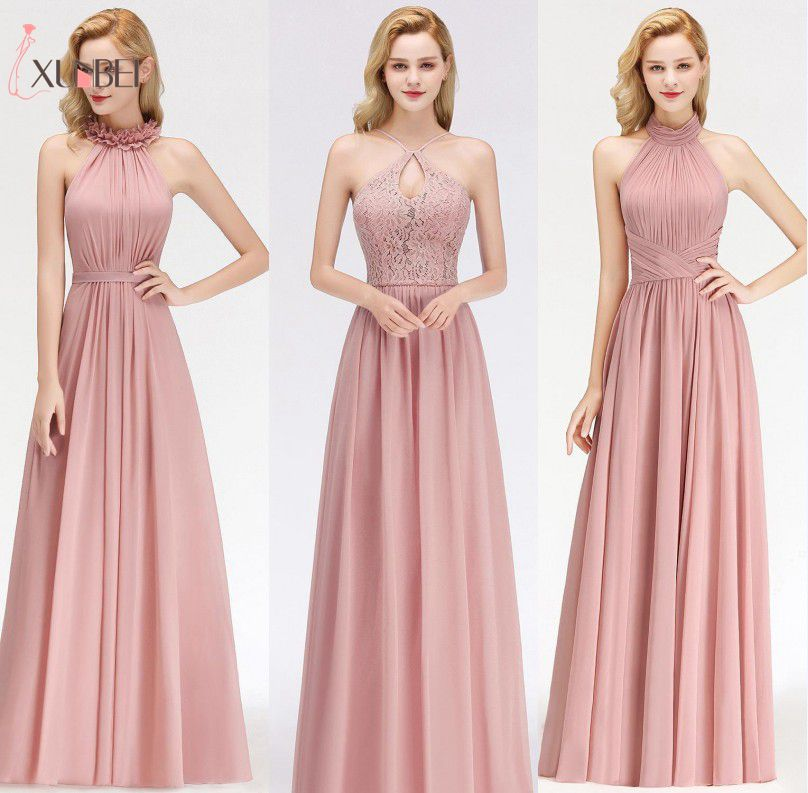 In Stock Halter A Line Dusty Pink Bridemaid Dresses Long Lace Ruched Chiffon Prom Guest Dress Wedding Party Dresses