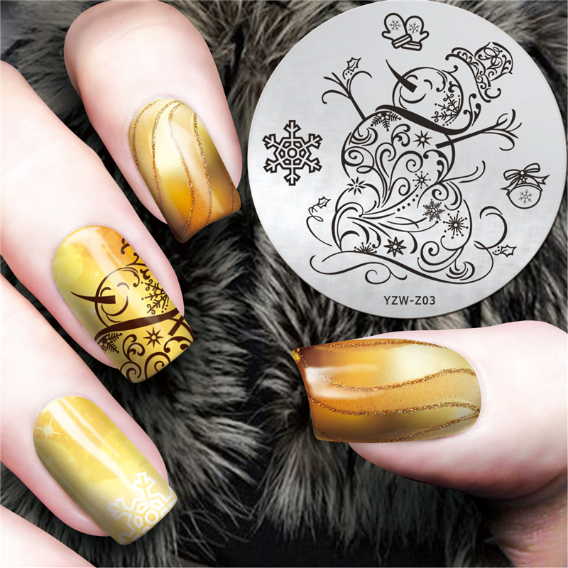 Hand Painted Snowman Design Nail Art Stamp Template Image Plate