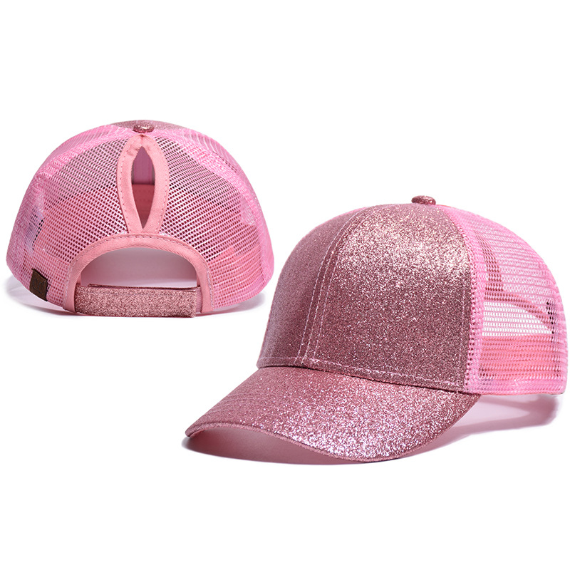 Horsetail Mesh Cap Adjustable Sequins Snapback Outdoor Sports kids girl Solid Baseball Cap hat Sun Hat