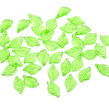 100Pcs Light Green Leaf Charms Acrylic Pendants DIY Jewelry Component 18x11mm(6/8)
