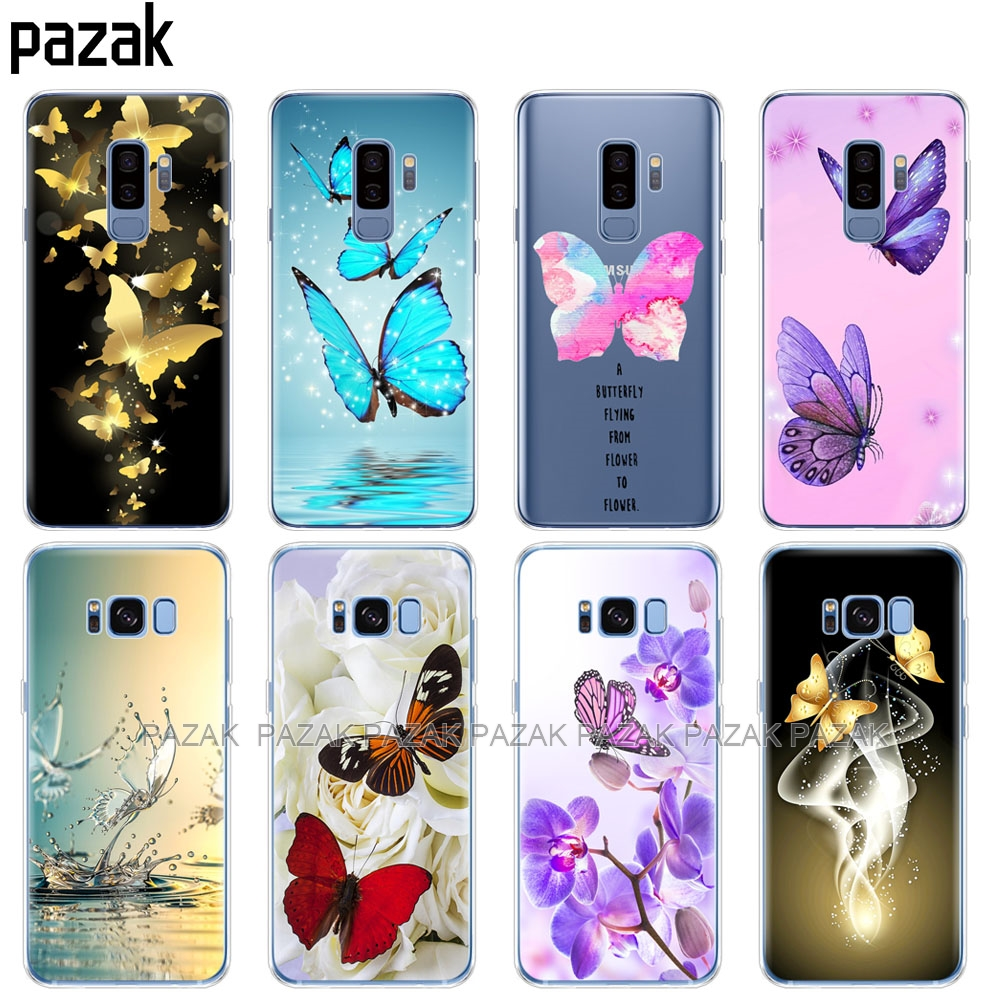 silicone case for Samsung Galaxy S9 S8 S7 S6 edge S5 S4 S3 PLUS phone cover butterfly roses flower image