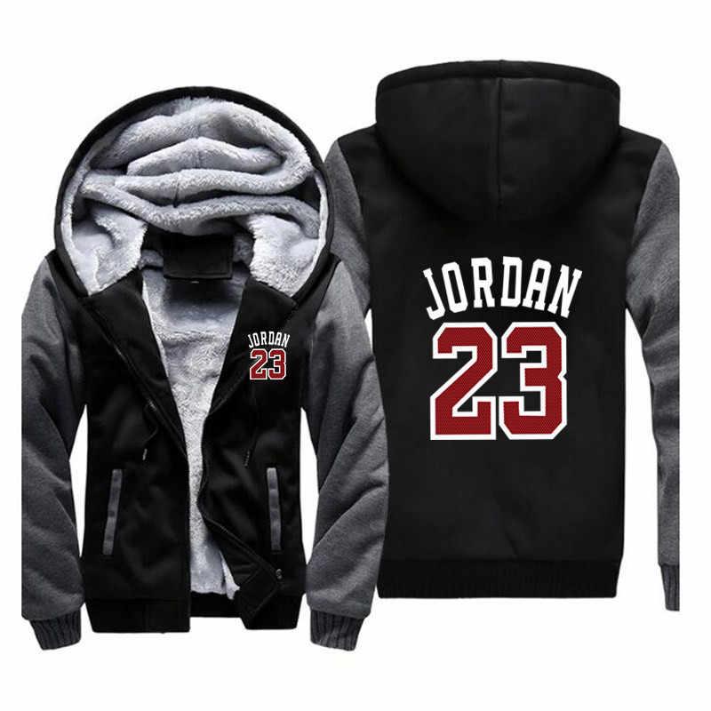 7568826060dc99 Brand Men Women Jordan 23 Zipper Hooded Casual Sweatshirt Winter Thickened Warm  Hoody Hip Hop