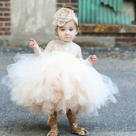 White/ivory/champagne tutu puffy tiered tulle wedding flower girl dress sheer lace ball gown long sleeves baby birthday gown romance elegant tutu flower girl dress key hole half sleeves ball gown wedding party dress white ivory 2016