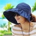 2017 Вс Hat Летние женские Широкими Полями Пляж Мода Складной Козырек Шапки Открытый Anti-Uv Cap с Большими Головами