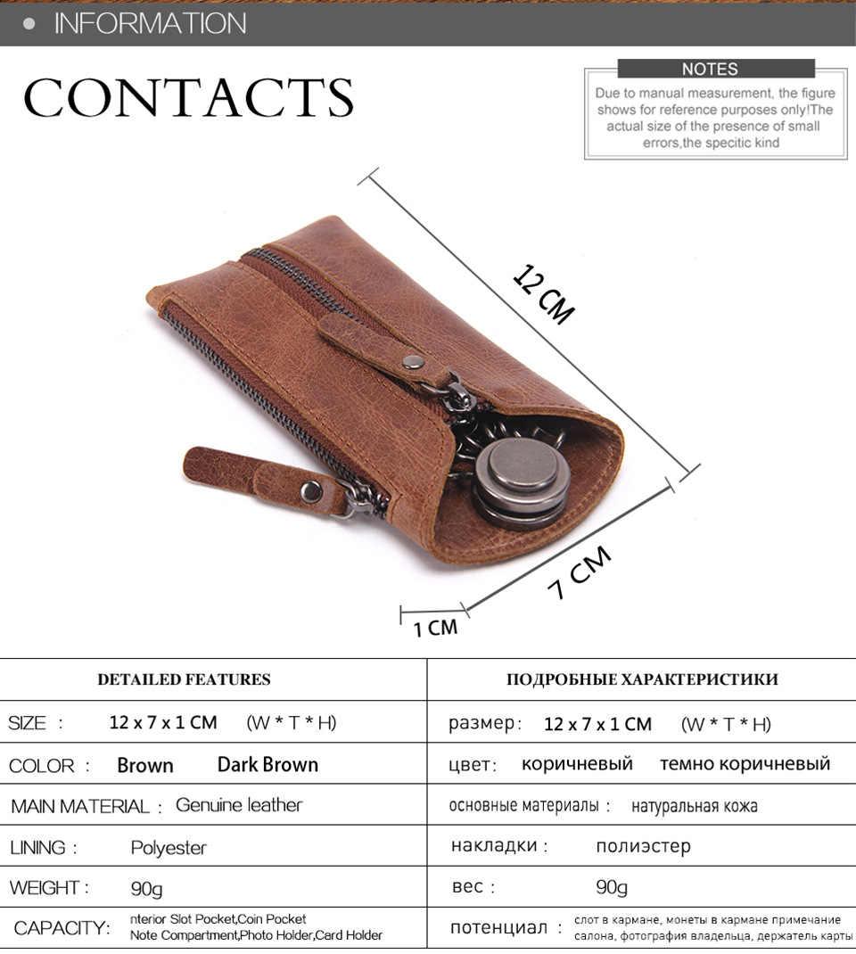 Bolso de cuero genuino de la llave del coche de moda pequeño bolso de la llave de la primera capa de cuero llavero mini monederos de la moneda
