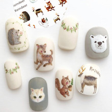 3D nail sticker Newest Hanyi-327 reindeer design decals back glue decorations for wraps