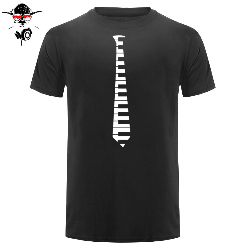 Hip Piano touches cravate Piano clavier musique Concert T Shirt créature taille S à 3XL T-Shirt O cou coton Simple uniforme bleu