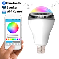 E27 6W RGB LED Bulb Bluetooth Smart Lighting Lamp Colorful Dimmable Speaker Lights Bulb Remote Control by smart phone App