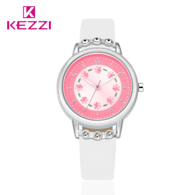New Big Dial Flowers Round Watches Quartz Woman Cute And Lovely Student Wristwatch KEZZI Warteproof  Band Simple Children Watch