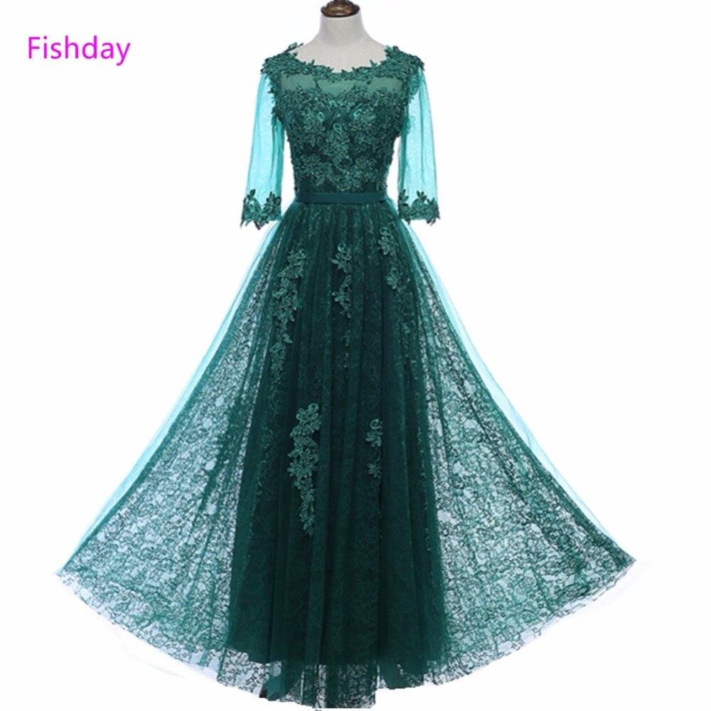 Fishday Зелена половина рукава аплікації вечірні сукні з бісеру мереживо Тюль довжина лодыжки елегантний формальний халат де вечір жінок продаж B20