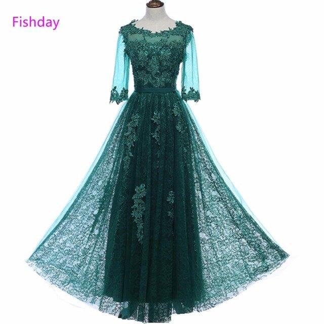 Fishday Green Half Sleeve Appliques Evening Dresses Beaded Lace Tulle Ankle Length Elegant Formal Robe de Soiree Women Sale B20
