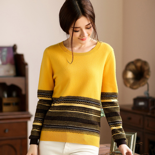 Winter New Korean hit color o - neck Cashmere Sweater Pure Cashmere Sweater female thickening Jacquard