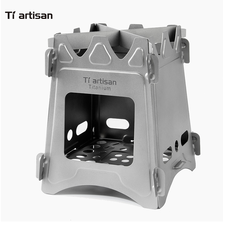 Tiartisan Ultralight Titanium Wood Stove Outdoor Camping Multi Fuels Alcohol Stove BBQ Stove WS009STTi