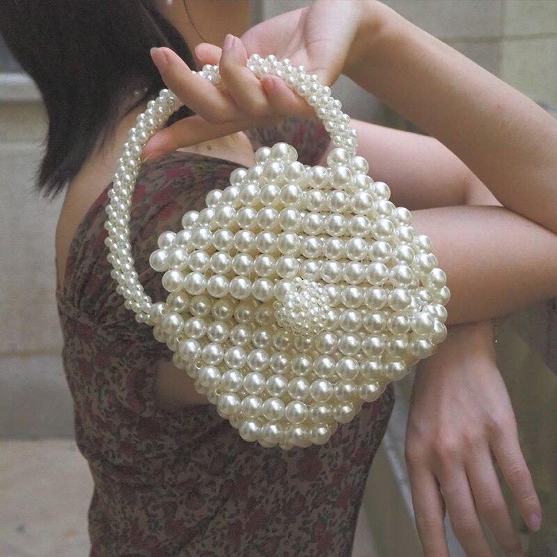 Handmade Pearl Handbags Mini Woven Beaded Bags Elegant Evening Bride Clutch Bag Women Famous Brands Purse 2019 Totes