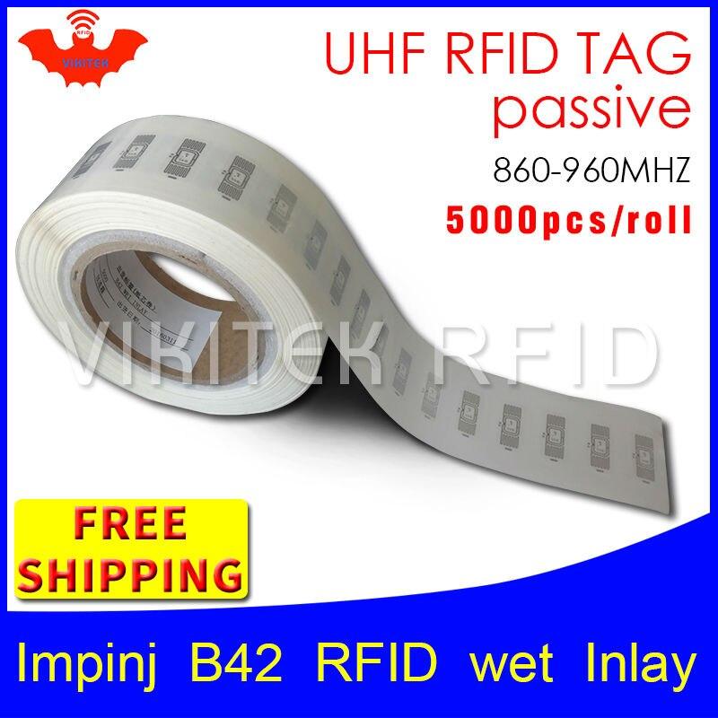 UHF RFID tag sticker Impinj B42 wet inlay EPC6C 915mhz868mhz860-960MHZ Higgs3 5000pcs free shipping adhesive passive RFID label uhf rfid tag epc 6c sticker impinj j41 wet inlay 915mhz868mhz860 960mhz higgs3 100pcs free shipping adhesive passive rfid label