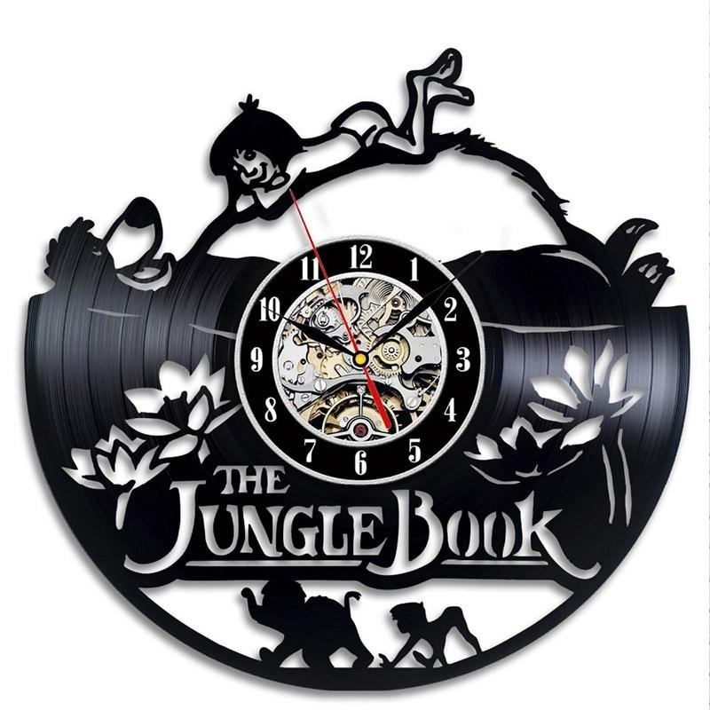 The Jungle Book Theme CD Record Clock Creative Vinyl LP Hanging Wall Clock Hollow Home Decor Antique Kids Room LED Wall Clock