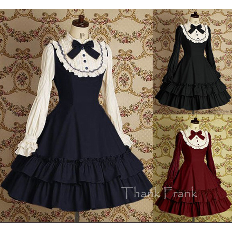 Cotton Sweet Lace Lolita Dress With Long Sleeve And Bow L1