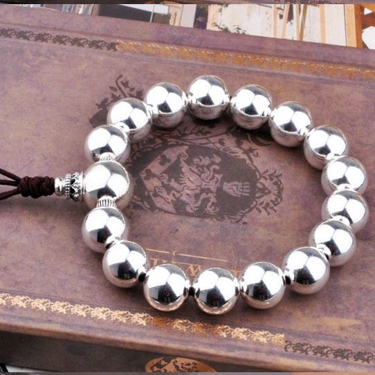 100% 925 Silver Beads Bracelet Sterling Tibetan Wrist Mala Bracelet Silver Beads Bracelet 925 sterling silver plated beads bracelet 17cm
