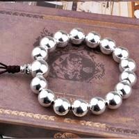 100% 925 Silver Beads Bracelet Sterling Tibetan Wrist Mala Bracelet Silver Beads Bracelet