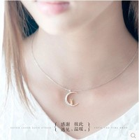 High quality 925 sterling silver Female jewelry moon rabbit women cartoon shape necklace cute pendant girls lovers best gift