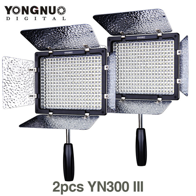 2X lots YONGNUO YN300 III 5500K 300 LED Light On Camera Video Lighting for Wedding camera