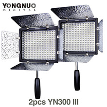 2X/beaucoup YONGNUO YN300 III 5500 K 300 LED Lumière Sur Caméra Vidéo Éclairage pour appareil photo De Mariage Studio Vidéo lumière lampe YN300III