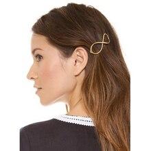 Ubuhle Fashion Korean Women Girls Hairpins Gold Metal Simple Double Circle Hair Clips Barrettes Bride Wedding Accessories