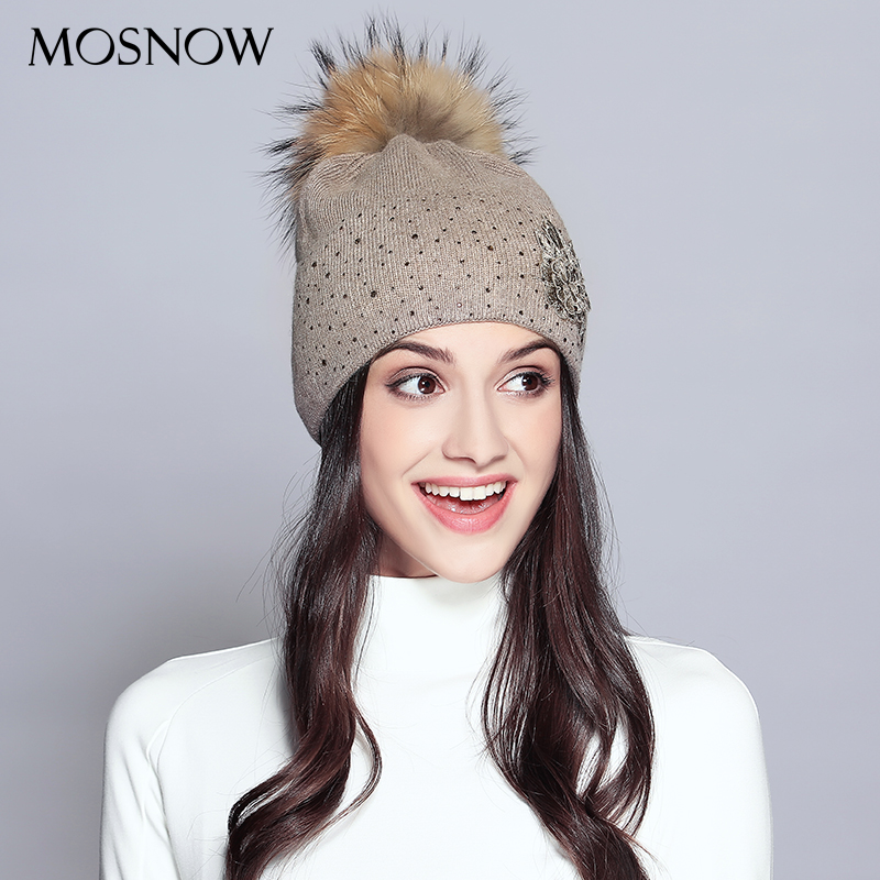 Winter Beanie Rhinestones Raccoon Fur Pom Poms Knitted Wool Hats For Women 2018 New Elegant Flower Hat Female Skullies Beanies