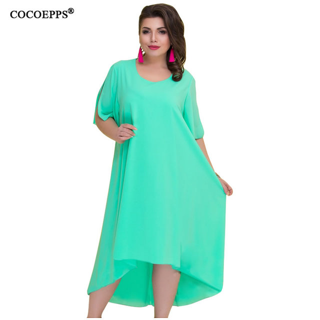 7aa3c17ef4cb COCOEPPS Casual Solto Plus Size Mulheres Vestidos De Verão 2019 Irregular Vestido  Longo Tamanho Grande Vintage Tamanhos Grandes 6XL