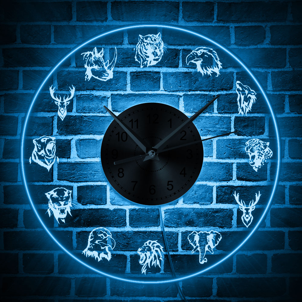 Wildlife Animals Abstract Modern Wall Clock Safari Animals Portrait LED Sign Kid Room Home Decor Hanging Watch Timepieces