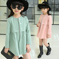 Children's clothing female child spring 2016  trench outerwear thin medium-long child female child outerwear spring and autumn