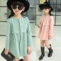 Ropa infantil femenina primavera niño 2016 trinchera prendas de vestir exteriores delgada medio-largo niña niño abrigo de primavera y otoño